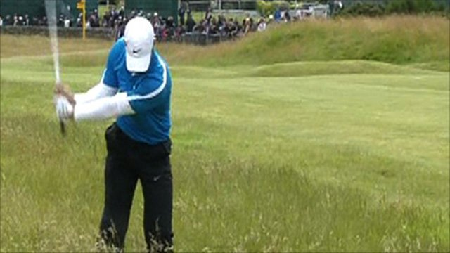 Paul Casey attempts to play out of the rough