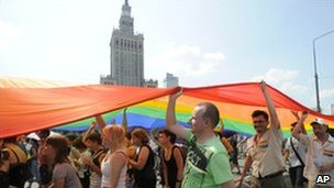 EuroPride marchers in Warsaw, 17 July