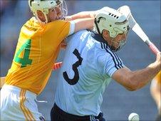 Dublin's Tomas Bradley shields the ball from Liam Watson at Croke Park