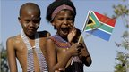 Children in traditional dress during celebrations at Mvezo for Nelson Mandela's 92nd birthday