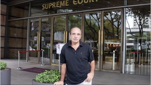 British author Alan Shadrake outside Singapore court in undated handout photo