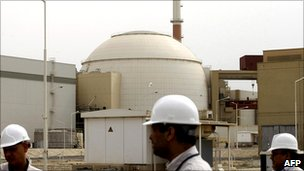 Bushehr nuclear power plant at the Iranian port town of Bushehr, 1200 Km south of Tehran, on February 25, 2009.