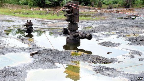A Shell oil inlet manifold stands at Kegbara-Dere, in the famous Nigerian oil-producing Ogoniland