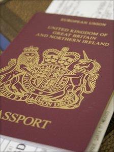 A British passport and plane ticket