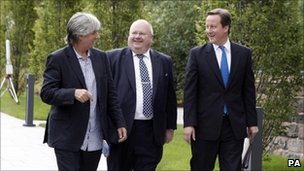 Phil Redmond, Eric Pickles communities minister and David Cameron before the 'big society' speech