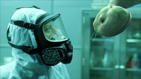 Sarah Polley and creature in Splice