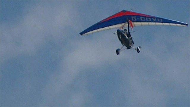 Paraplegic pilot Dave Sykes in flight