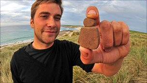 Archaeologist for Historic Scotland Jakob Kainz with the discovery [Pic: Historic Scotland]