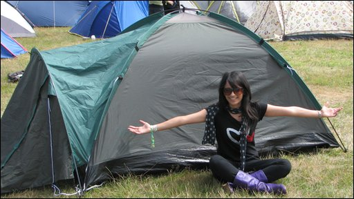 Sonali with her tent