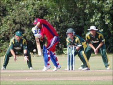 Guernsey pack the wicket with fielders against Norway
