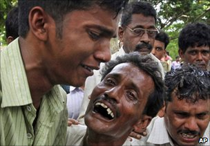 Relatives of victims outside a hospital in Birbhum district on 19 July 2010