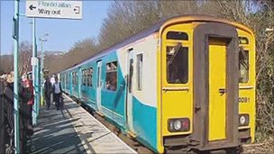 Train on the Ebbw Vale line