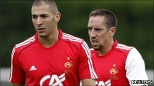 Karim Benzema and Franck Ribery in 2009