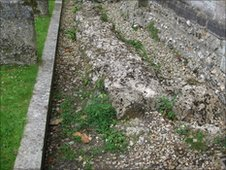 The original foundations of Romsey abbey