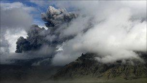 Ash from Eyjafjallajokull volcano