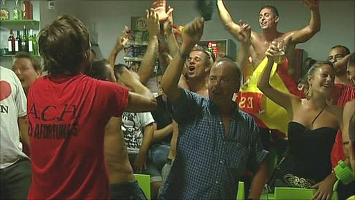Spaniards celebrate winning the 2010 World Cup