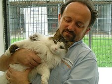 Alan Maskell and Billy the cat