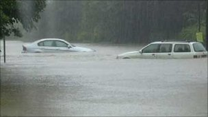 Cars in 2007 floods