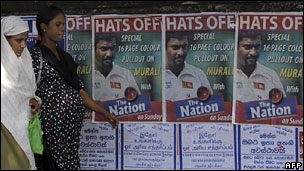 Muttiah Muralitharan posters in Colombo