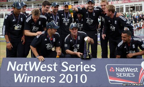 England celebrate after winning the one-day series 2-1