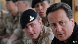 David Cameron with British troops in Afghanistan in June