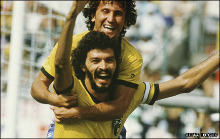 Socrates and Zico celebrate a goal for Brazil at the 1986 World Cup