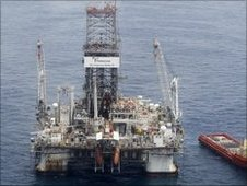 The Development Driller II drills a relief well at the site of the Deepwater Horizon oil spill, June 2010
