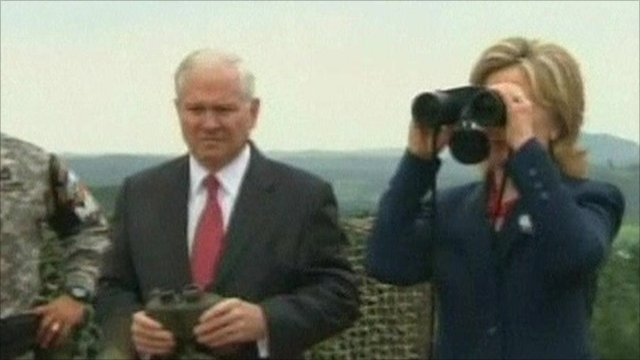 US Secretary of State Hillary Clinton and US Defence Secretary Robert Gates at the Demilitarised Zone between North and South Korea