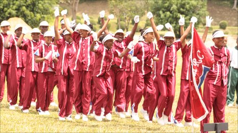 Students celebrate winning sporting event in a procession