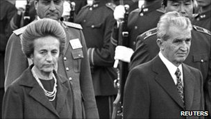 Nicolae Ceausescu (R) and his wife Elena at the Great Hall of the People in Beijing, China - 14 October 1988