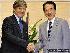 Chilean Football Federation president Harold Mayne-Nicholls and Japanese Prime Minister Naoto Kan