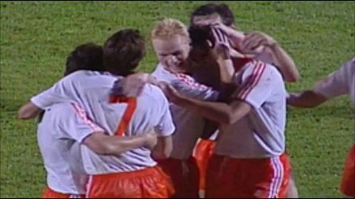 Holland celebrate their second goal