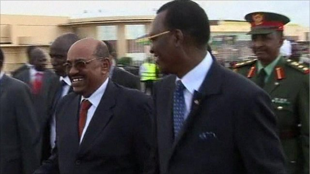The President of Sudan, Omar al-Bashir, arrives in Chad