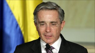 Outgoing Colombian President Alvaro Uribe in a photo from 20 July 
