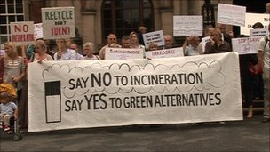 Residents protest against the incinerator