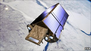 Artist's impression of Cryosat measuring ice thickness (Esa)
