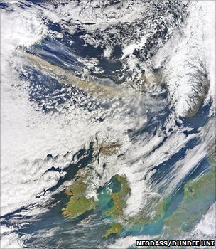 Volcanic ash plume moves towards UK (Uni Dundee)