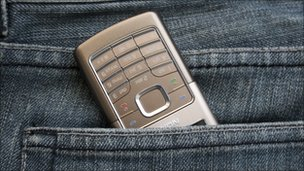 Nokia phone in back pocket