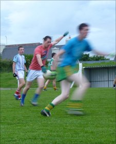 Gneeveguilla's gaelic football team in action