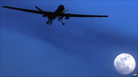 Predator drone flies over Kandahar, southern Afghanistan, 31 January 2010