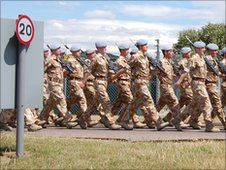 Soldiers marching at Wattisham Station, Suffolk