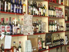 Alcohol on shelves in Frawley's