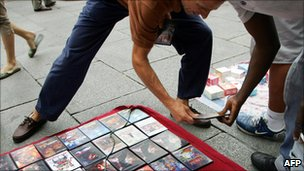 Pirated DVDs on sale in Madrid - file pic