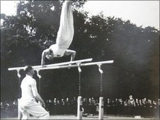 George remembers the gymnastics team mainly trained outdoors