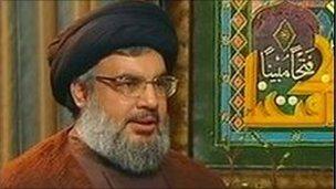 Hassan Nasrallah appearing on al-Manar TV, file pic