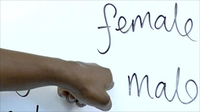Female and Male written on board