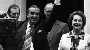Lord Healey with his wife outside 11 Downing Street on the day of the 1978 Budget