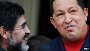 Diego Maradona and Hugo Chavez in Caracas, 22 July