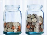 Savings jars containing coins