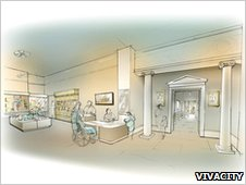 Artist's impression of new reception, Peterborough Museum